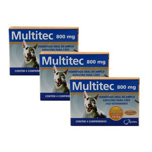 Vermífugo Multitec 800mg Cães 10kg 4 comp KIT 3 cx Syntec