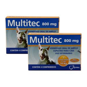 Vermífugo Multitec 800mg Cães 10kg 4 comp KIT 2 cx Syntec