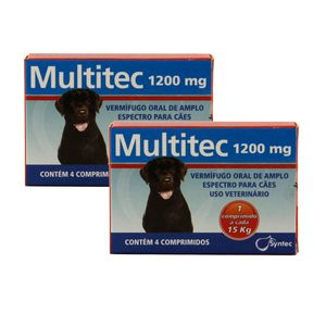 Vermífugo Multitec 1200mg Cães 15kg 4 comp KIT 2 cx Syntec