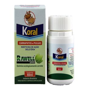 Koral 60ml Combate Carrapatos e Pulgas do Ambiente Rawell